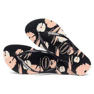Havaianas Slim Floral Basic Black Thongs